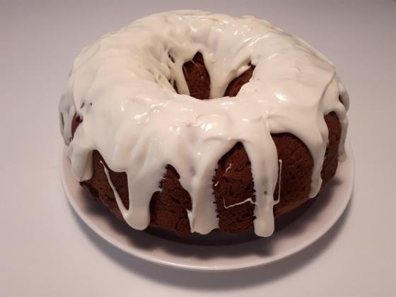 Pumpkin Bundt Bake with Cream Cheese Frosting.